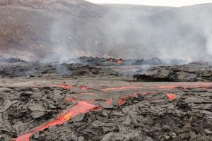 Fagradal vulkan med lava på Island