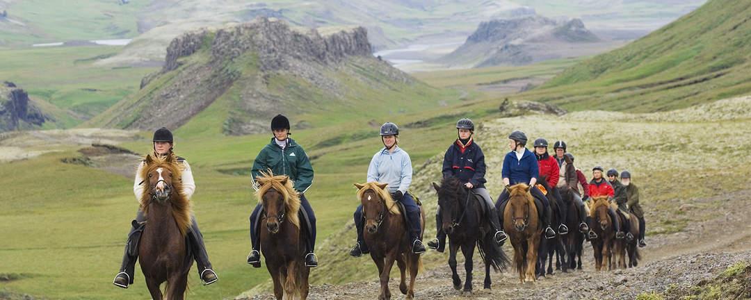 Rider Gyllene Cirkeln genom den vackra landsbygden på södra Island